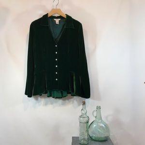 SUNDANCE Green Velvet Peplum Blouse